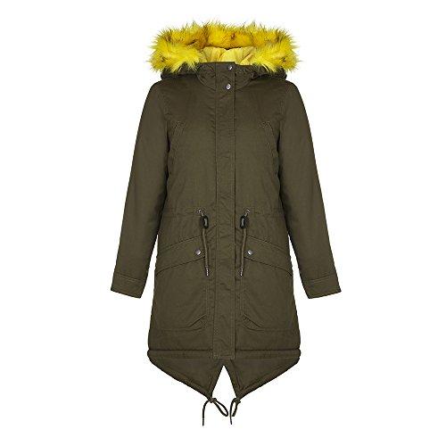 Vero Moda - VMALESSIA Donne Khaki Parka Inverno Con giallo bordo in pelliccia, la taglia M 40
