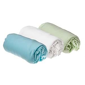 Lot de 3 draps housse coton pour lit b b 40x80 40x90 cm for Drap housse 40x90