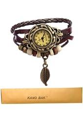 Kano Bak Women Quartz Fashion Weave Wrap around Leather Bracelet Wrist Watch