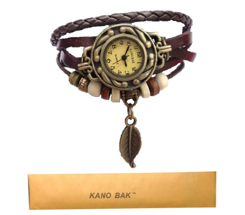Kano Bak Women Quartz Fashion Weave Wrap around Leather Bracelet Wrist Watch image