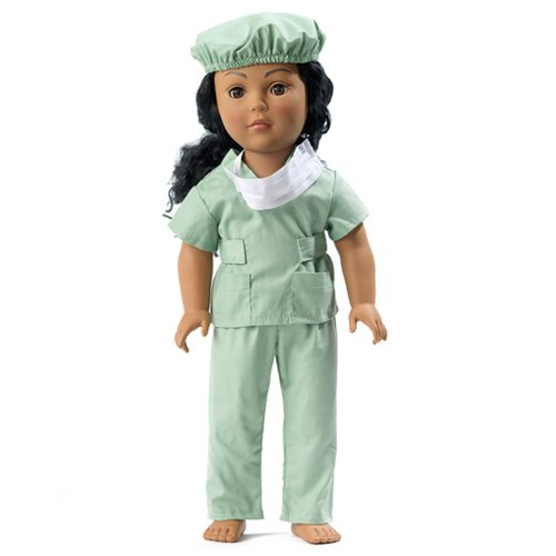 41LovAHId1L 18 Inch Dolls Garments/clothing Fits American Girl   Hospital Doctor Scrubs Outfit Contains 18 Doll Accessories