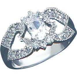 Sterling Silver Cubic Zirconia Double Heart Promise Ring Sz 6