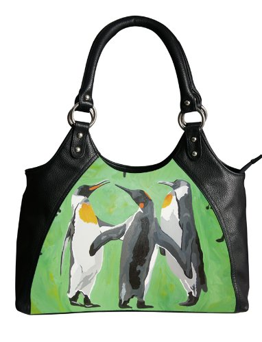 Penguin Retro Shoulder Bag, Vegan Leather - Taken From My Original Oil Painting, Support Wildlife Conservation, Read How
