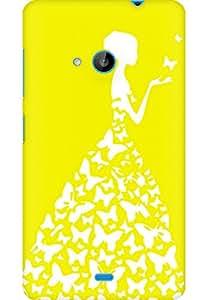 AMEZ designer printed 3d premium high quality back case cover for Microsoft Lumia 535 (bright yellow white girl princess)