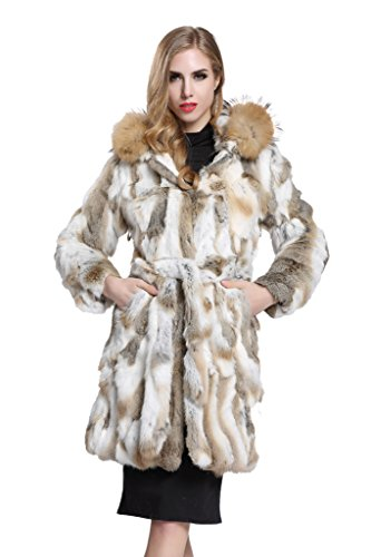 [Topfur Women's Coat Rabbit Waistcoat with Raccoon Fur Visor Overcoat(US 16)] (Faux Chain Hooded Costumes)
