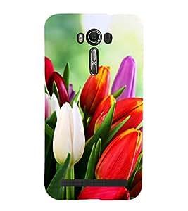 Tulips 3D Hard Polycarbonate Designer Back Case Cover for Asus Zenfone 2 Laser ZE500KL (5 INCHES)
