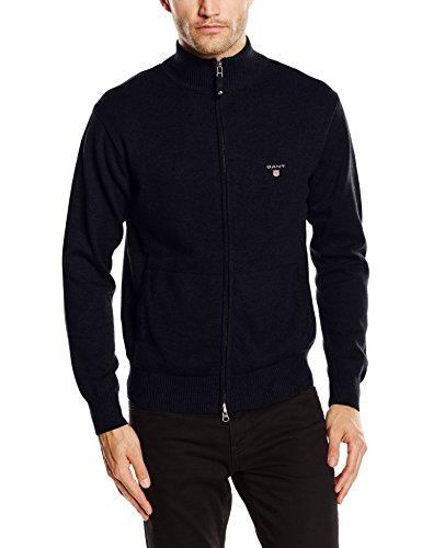 Gant Solid Cotton Zip-Felpa Uomo    Blu (Navy) XX-Large
