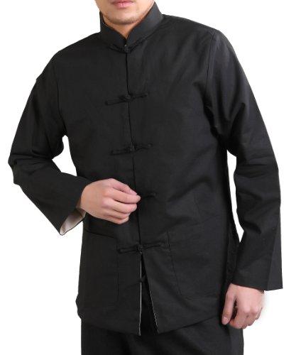 Men's Linen/cotton Reversible Chinese Jacket (X-Large, Black/Beige)