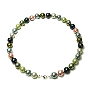 Sterling Silver 12mm Round Multi-Color Shell Pearl Necklace, 18""