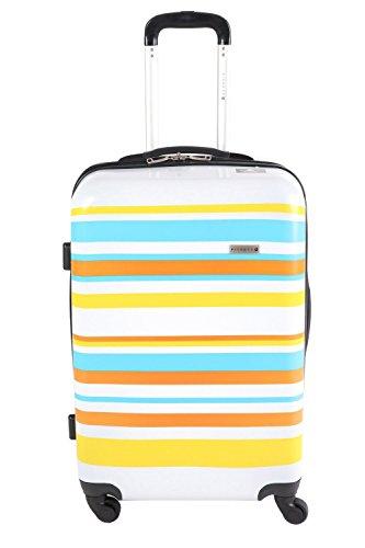 Trolley valigia da viaggio bagaglio a mano valigia Pianeta guscio rigido policarbonato / ABS colorato a strisce (bianco / nero / grigio) (Giallo-Arancio-Turchese L)