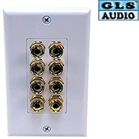 GLS Audio 8 Posts Binding/Banana Wall Plate White