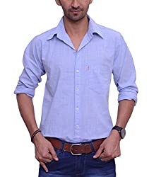 Ballard Men's Casual Shirt (BCS0018_Blue_42)