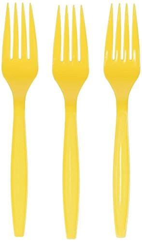 Amscan Big Party Pack 100 Count Mid Weight Plastic Forks, Yellow