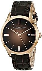 Stuhrling Original Men's  490.3345K14 Cuvette II Analog Swiss Quartz Brown Leather Watch