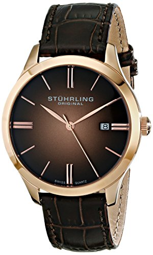 Stuhrling Original Men's  490.3345K14 Cuvette II Analog Swiss Quartz Brown Leather Watch