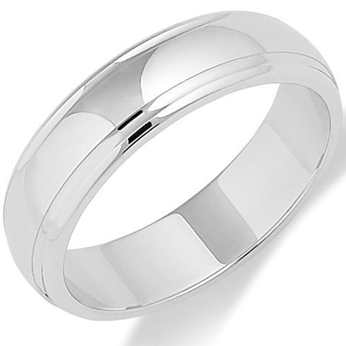 Track Edged Platinum Wedding Ring in a 5mm D-Shaped Profile - Size Z