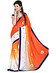 Stunning White & Orange Embroidered Party Wear Saree With Matching Blouse