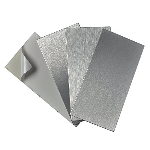 """Art3d 4-Pieces Peel and Stick Stainless Steel Backsplash Tiles, 3"""" x 6"""" Brushed Metal"""