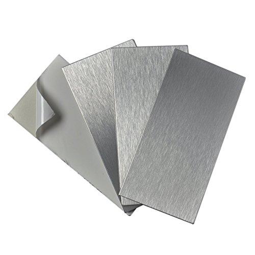 Art3d 4-Pieces Peel and Stick Stainless Steel Backsplash Tiles, 3
