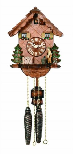 River City Clocks 42-10 Chalet Style One Day Cuckoo Clock, Woodchopper Chops Wood In The Forest, 10-Inch Tall