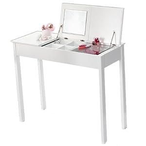Brubaker Dressing Table With Folding Mirror White Bauhaus