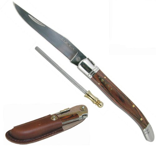 Laguiole Knife Gift Box: Knife, Black Leather Case + Blade Sharpener. 22Cm Opened . Exotic Wood Handle, Inlaid Round Of The Shepherd Star. Leather Case With Belt Clip. Stainless Steel.