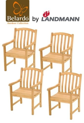4er set belardo by landmann garten sessel teak holz stuhl gartenm bel neu g nstig bestellen. Black Bedroom Furniture Sets. Home Design Ideas