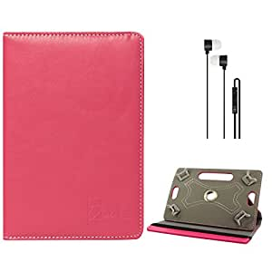 DMG Portable Foldable Stand Holder Cover Case for Samsung Galaxy Tab 2 P3100 7in Tablet (Pink) + Black Stereo Earphone with Mic and Volume Control