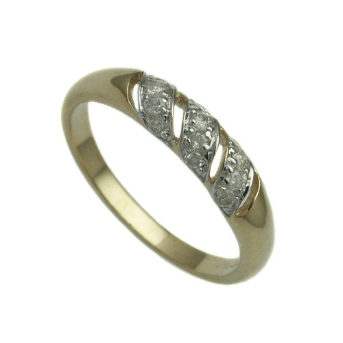 9ct Yellow Gold Ladies Fancy Band Ring Set with 0.25ct of Diamonds Size - P