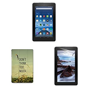 """Fire Essentials Bundle including Fire 7"""" Tablet with Special Offers, caseable Travel Like a Bird Without Care Cover and Screen Protector"""