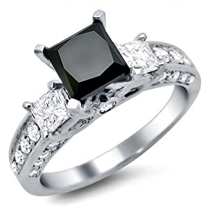 2.20ct Black Princess Cut 3 Three Stone Diamond Engagement Ring 14k White Gold