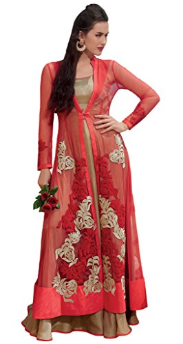 Heart & Soul Designer Wedding & Party Wear Fully Stitched Embroidery Designer Salwar Suits Dupatta L size for women(Red)
