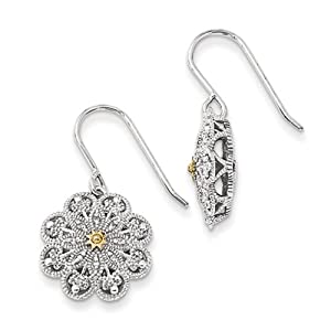 Sterling Silver W/14k 1/15ct. Diamond Vintage Earrings