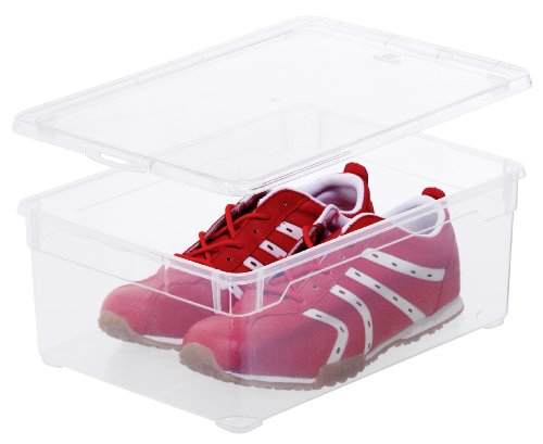 Aufbewahrungsbox-Clear-Box-Man-Shoe-10-L-von-Sundis-mit-Deckel-QR-Code-AppMyBox-10-L-Volumen-LxBxH-365x265x14-cm-transparent-stapelbar-KunststoffPlastik-PP-Div-Gren
