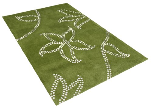 ZnZ Rugs Gallery, 26024_5x8, Hand Made Green New Zealand Blend Wool Rug, 1, Ivory, 5x8'