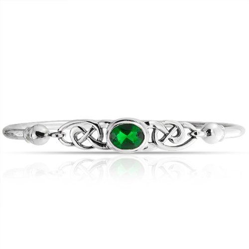 Bling Jewelry Emerald Color Celtic Knot Bangle Bracelet 925 Sterling Silver