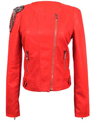 VonFon Womens Fringe Slim Fit Short PU Leather Jacket Red M