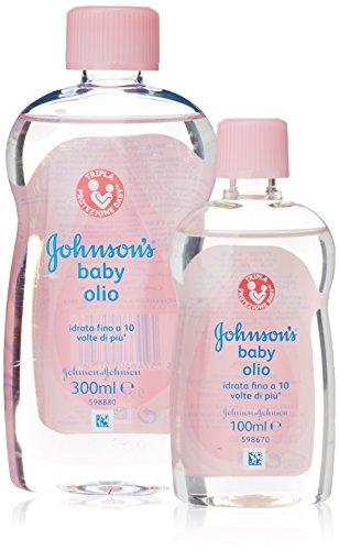 Johnson's - baby olio, Ipoallergenico, Idrata la Pelle, bottiglia di 300 ml più bottiglia di 100 ml