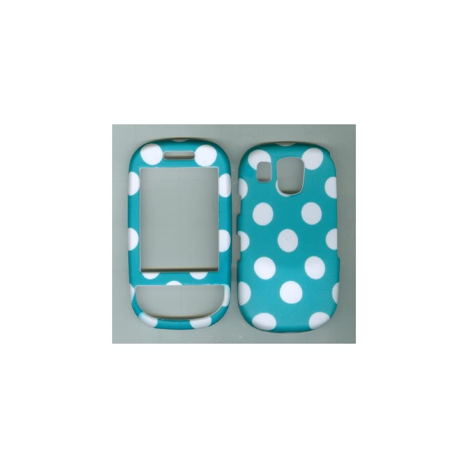 Turquoise Polka Dot Rubberized Plastic Phone Case Cover Protector for Samsung