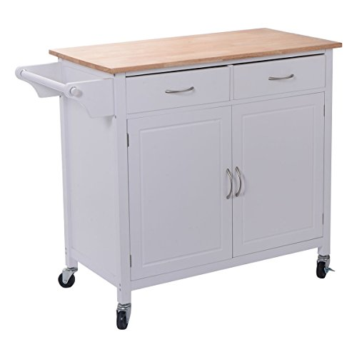 Giantex Portable Kitchen Rolling Cart Wood Top Island Serving Utility W/Cabinet &Drawer (Kitchen Rolling Cart compare prices)