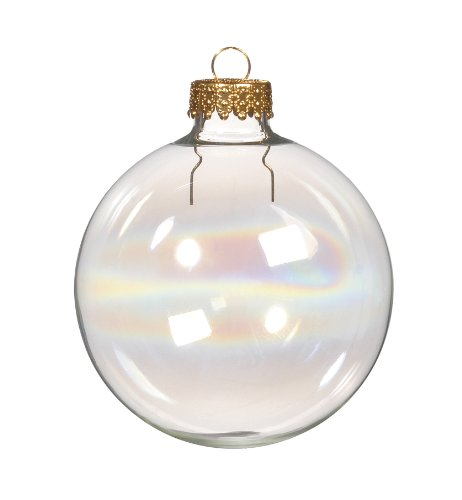Darice 2611-80 70mm Iris Clear Glass Ball Ornaments , Pack of 6