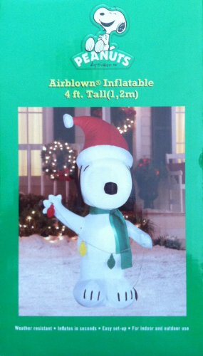 Snoopy With Light String 4 Foot Tall Inflatable front-970523