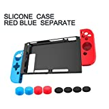 Nintendo Switch Case Cover- Silicone Shockproof Protective Back Case for Nintendo Switch Plate, With Console Joy-Con Protective Skins and 8 Anti-Slip Thumb Grips, 11 in 1 set