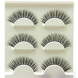 OVERMAL 3 Pair Natural Look False Eyelashes Voluminous Eyelashes Extension Makeup