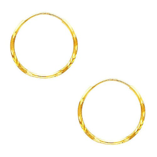 14K Yellow Gold 1.5mm Diamond Cut Satin/High Polished Elegant Endless Hoop Earrings (0.7