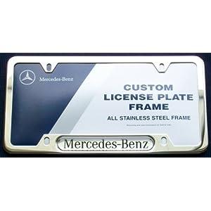 Genuine mercedes benz stainless steel license plate frame for Mercedes benz license plate holder