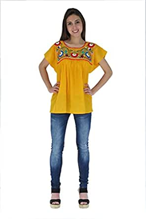 Mexican Clothing Co Womens Mexican Blouse Tehuacan Light