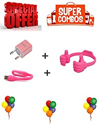 HANGOUT HCH-999-USB POWER ADAPTER-PINK + HANGOUT HLD-045-FLEXIBLE USB LED LIGHT-PINK + Hangout Latest SMART Mobile Stand (Pink)