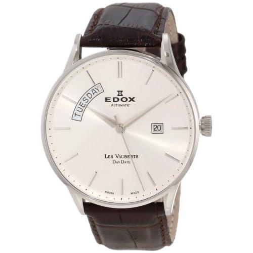 [エドックス] EDOX 腕時計 Men's Les Vauberts Automatic Silver Dial Leather Watch スイス製自動巻 83010 3B AIN メンズ [TimeKingバンド調節工具& HARP高級セーム革セット]【並行輸入品】
