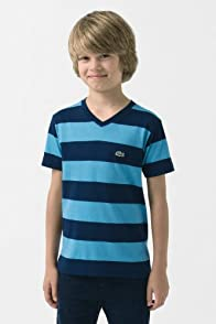 Boy's Short Sleeve Stripe V-Neck T-Shirt